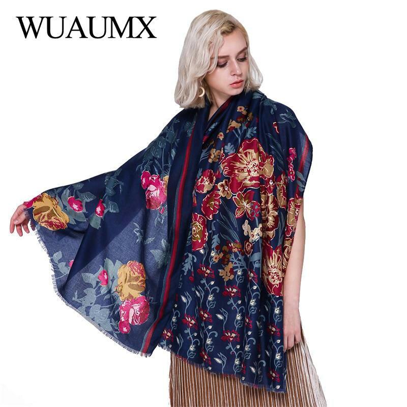 Wuaumx Branded Fashion Cotton Linen Women Scarf Flower Pattern Satin hijab Scarves For Female Large Size Shawls bandana Headwear