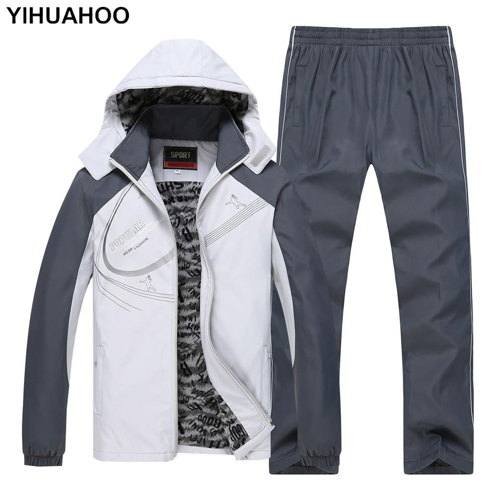 YIHUAHOO Tracksuit Men Velvet Fur Winter Jacket+Pants Two Piece Clothing Set Hooded Sportswear Sweatpants Track Suit Men MS-8619