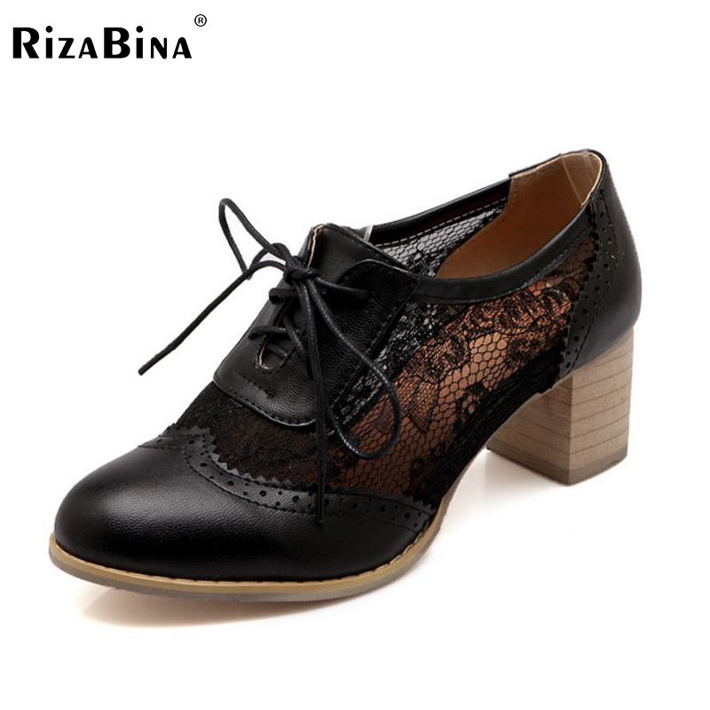 ФОТО women square high heel shoes footwear sexy lace brand spring fashion heeled pumps heels shoes size 34-43 P18261