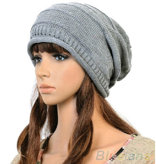 MYPF Unisex Women Winter Plicate Baggy Beanie Knit Crochet Skullies Cap Oversized Slouch Hat 5 Colors hot sale unisex winter plicate baggy beanie knit crochet ski hat cap