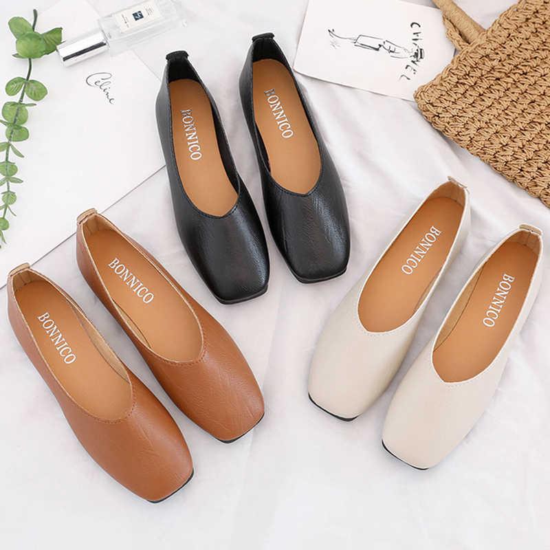 2019 Vrouwen Flats Vierkante Teen Slip op Platte Schoenen Vrouw Loafers Bootschoenen Zwarte Oxford Schoenen Comfortabele Dames Schoenen Vrouwelijke a7475
