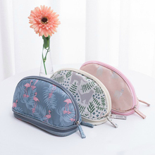 Double Layer Semicircle Cosmetic Bags Animal Flamingo Ladies Brush Makeup Pouch Travel Beauty Cosmetic Case
