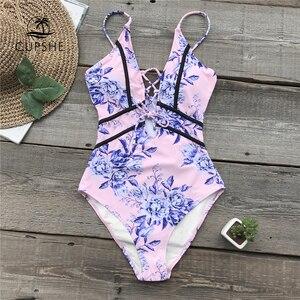 Image 1 - CUPSHE różowy kwiat drukuj rurociągi jednoczęściowy strój kąpielowy kobiety głęboki dekolt w serek zasznurować seksowne body stroje kąpielowe 2020 plażowa na szczupłą sylwetkę Monokinis