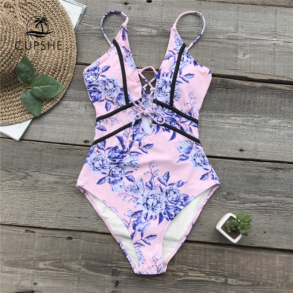 بدلة سباحة قطعة واحدة مزخرفة بالزهور باللون الوردي من CUPSHE بدلة سباحة نسائية بفتحة رقبة على شكل v عميقة بأربطة ملابس سباحة مثيرة ملابس شاطئ لعام 2020