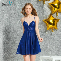 Dressv royal blue cocktail elegant a line short mini spaghetti straps zipper up wedding party formal dress cocktail dresses