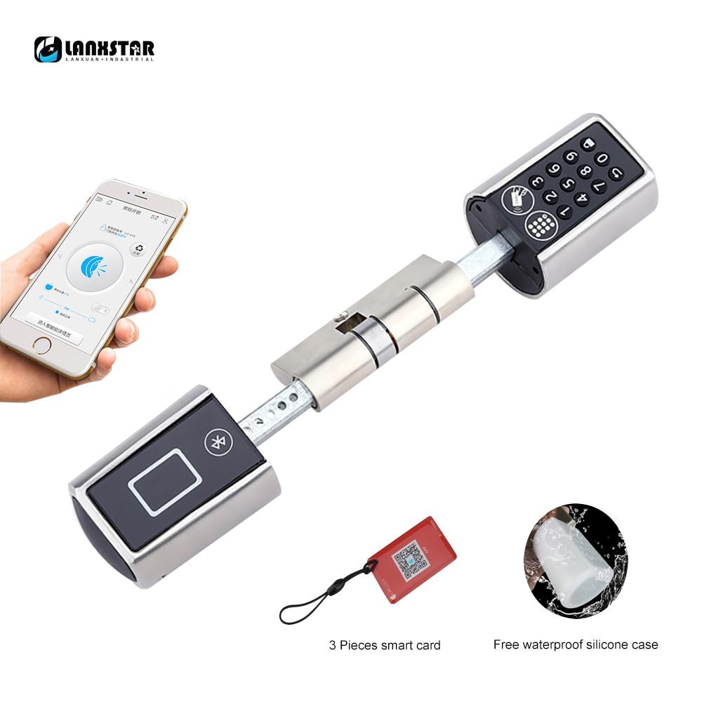 LANXSTAR ajustable inteligente cerradura electrónica desbloquear por contraseña Bluetooth Hardware cerradura Keyless EURO cilindro de la cerradura