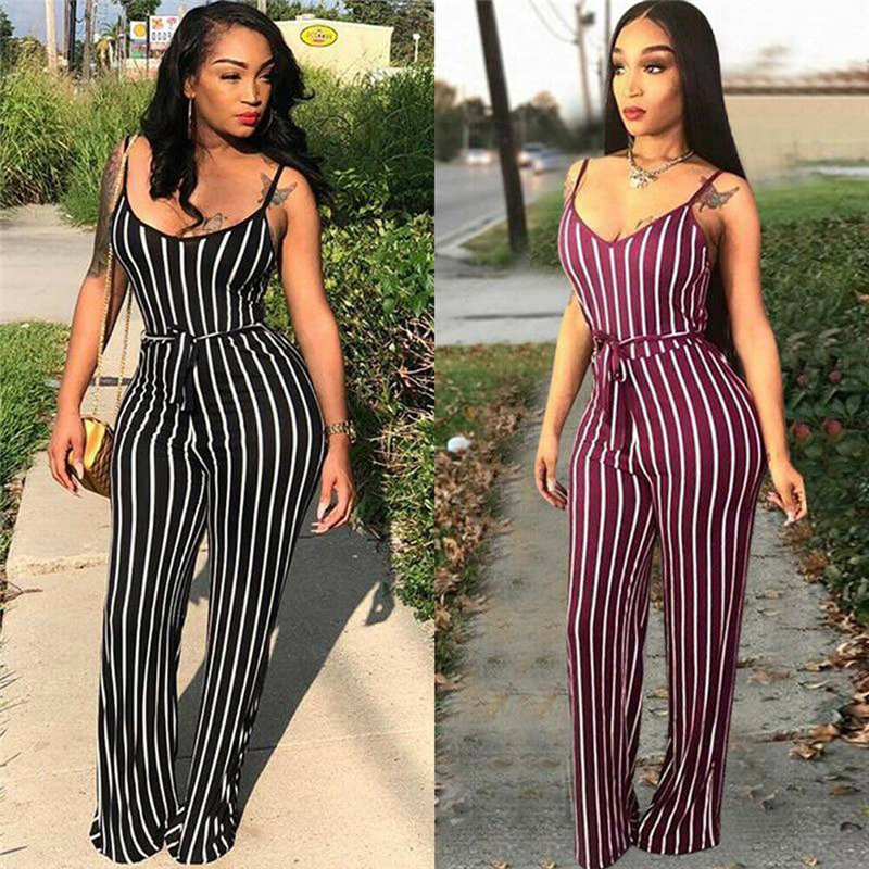 Fashion Women Clubwear Pants Summer Playsuit Bodycon Party Jumpsuit Sexy Striped Romper Trousers New 2019