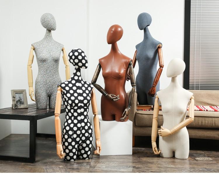 Clothes mannequins female half body mannequin cloth belt female wedding dress mannequin women\'s fabric mannequin (17)