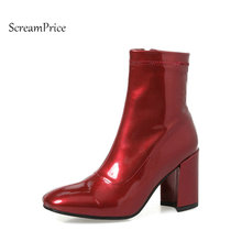 Woman Thick High Heel Side Zipper Ankle Boots Fashion Square Toe Dress Boots Short Plush Winter Boots Black Red