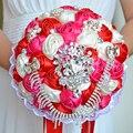 2017 Люкс Для Невесты Свадебный Букет Дешевые Кристалл Розовый и Кот & Красный Ручной Работы Искусственный Цветок Розы Свадебные Букеты