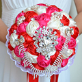 2017 Bridal Bridesmaid Wedding Bouquet Cheap Luxury Crystal Pink&Ivory&Red Handmade Artificial Rose Flower Bridal Bouquets