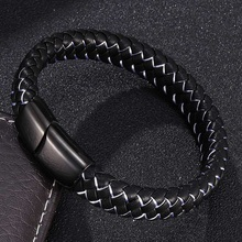 Charm Bracelets for Men Black White Braided Leather Bracelet Bangles Stainless Steel Magnetic Clasps Male Wrist Band Jewelry 001 fashionable simple pu leather titanium steel braided wrist bracelet for men black silver