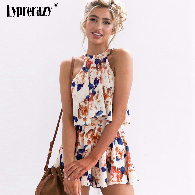 Lyprerazy Women Summer Sexy Shoulder Halter Sleeveless Boho Rompers Jumpsuit Beach Party Overalls Floral Print Chiffon Playsuit