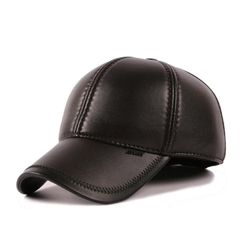 men winter leather baseball cap ears panel bone polo over hat with pig cat