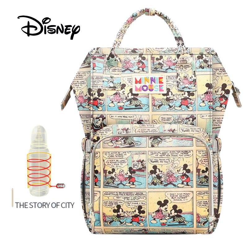 Disney Large Capacity USB Waterproof Diaper Bags Oxford Cloth Insulation Bags Bottle Feeding Storage Bag Mummy Travel Backpack