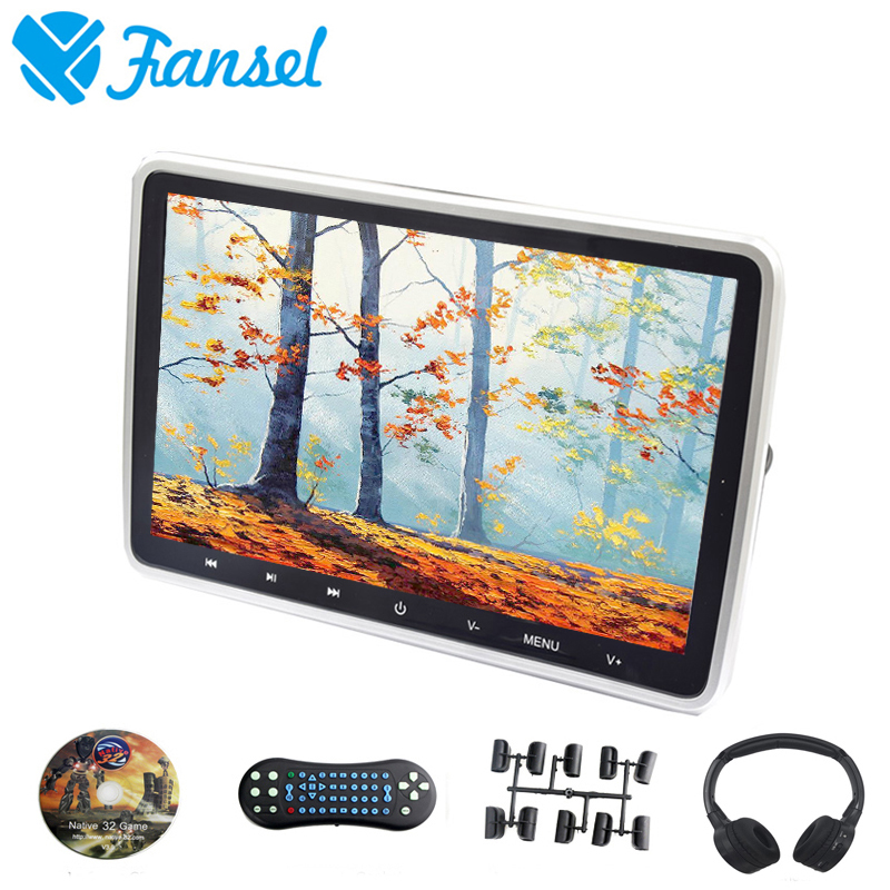 Fansel 10.1 Inch Car Headrest Monitor DVD Video Player 1024x600 TFT LCD Screen Touch Button USB/SD/HDMI/IR/FM Transmitter/Game