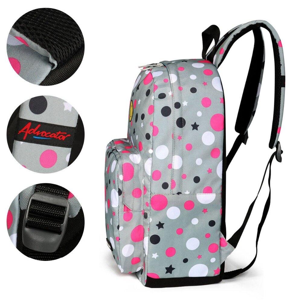 Advocator Student School Bag for Girl Cute Smile Face Junior Bookbag Nylon Stylish Women Rucksack Teens Backpack Mochila Escolar