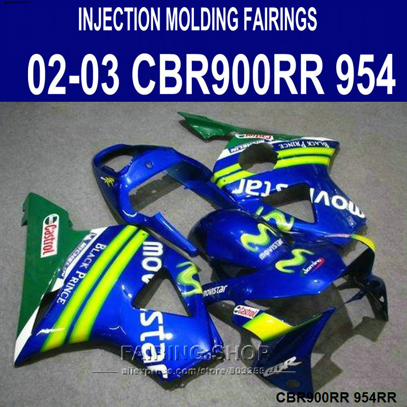 Injection mold Customize Fairing kit for Honda CBR900RR 954 CBR954 2002 2003 blue Movistar ABS fairings set CBR954RR 02 03 SD44