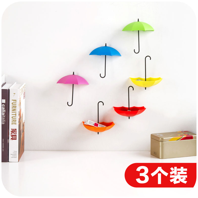 Free nail glue umbrella shape wall hooks three containers, small decorative objects single hook creative stick hook