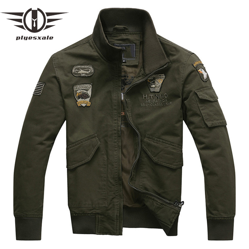Plyesxale Bomber Veste Hommes 2018 Aeronautica Militare Hommes Air Force One Hommes Vestes Et Manteaux Armée Militaire Pilote Veste Q110