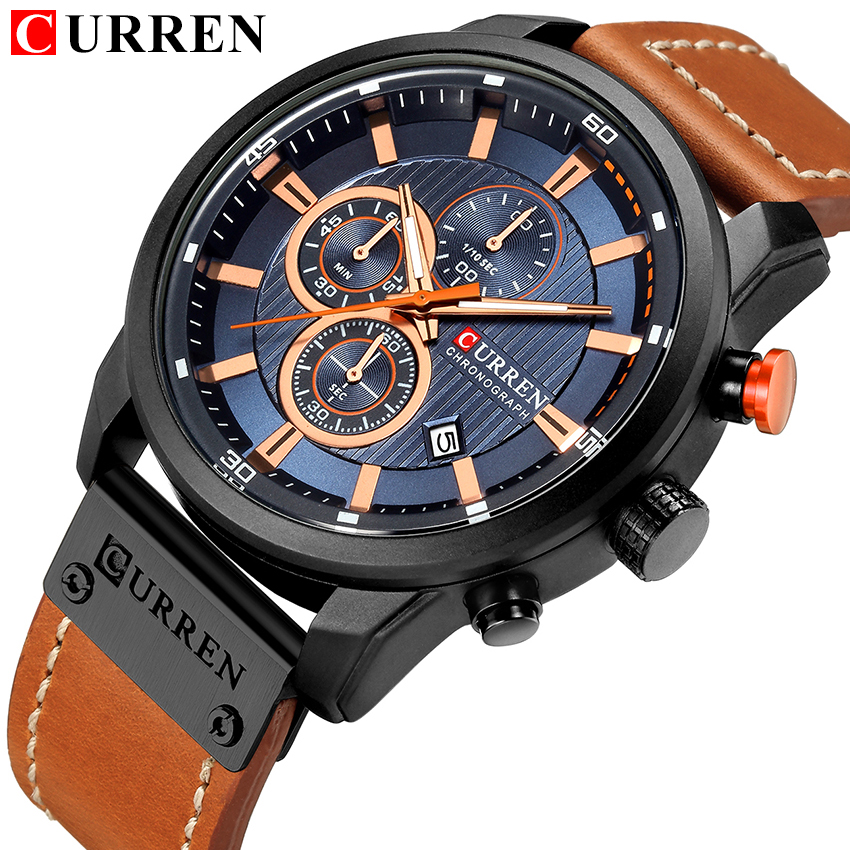 CURREN Genuine Leather Quartz Men Watch Sports Military Style Watches 3ATM WaterProof Chronograph Man Wristwatch