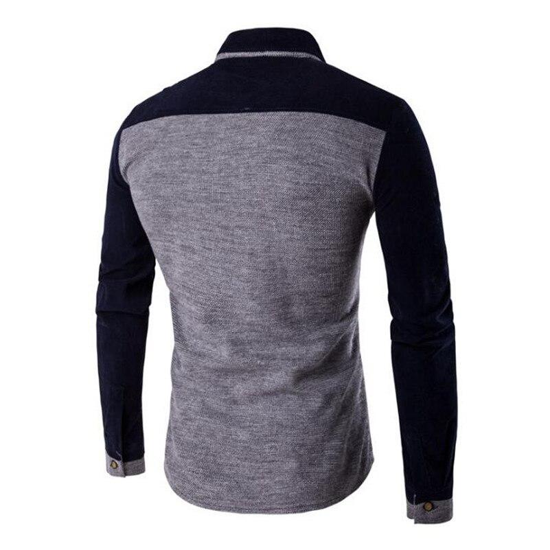 Örme Erkek Gömlek Uzun Kollu Pamuk Polyester Parchwork Gömlek - Erkek Giyim - Fotoğraf 6