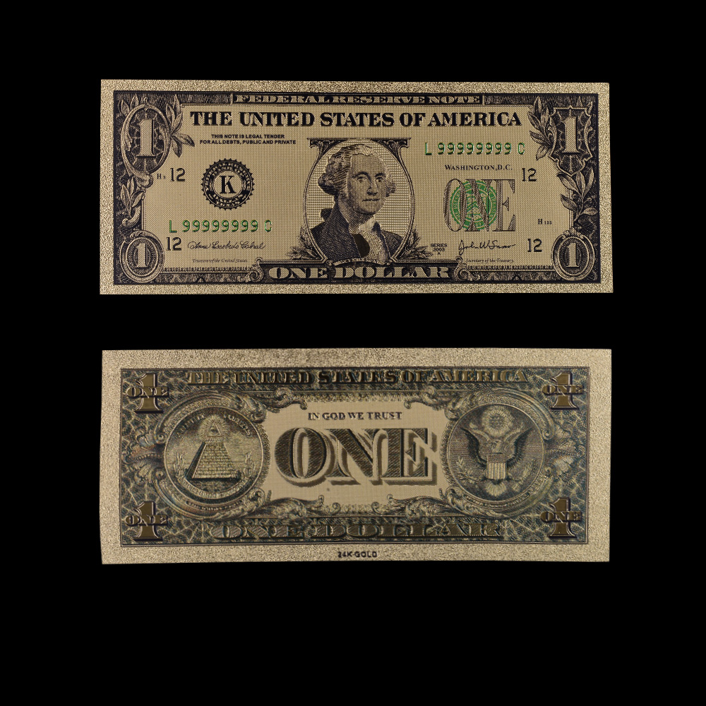 Usa 1 Usd Gold Banknote Currency World Money Replica Foil Bill Business Birthday Gifts