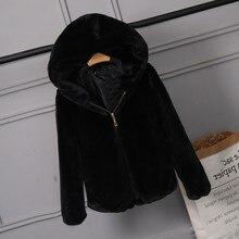2019 пальто из искусственного меха с капюшоном Высокая Талия модные тонкие цвета: черный, красный, розовый искусственная Меховая куртка искусственный кроличий мех полным ходом