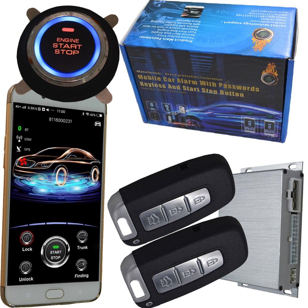 Gps voiture alarme téléphone intelligent app système d'allumage automatique entrée sans clé contrôle central voiture porte serrure ou déverrouillage push moteur démarrage arrêt