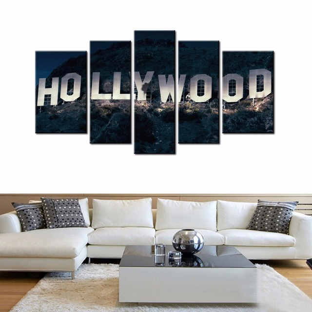 5 Panels Canvas Wall Art Hollywood Street Signs Picture Prints ...