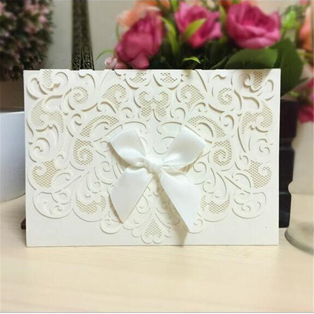 100pcs romantic carving envelope paper craft christmas wedding decorations laser cut wedding invitations cards mariage rsvp