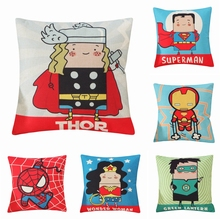 Cartoon Super Hero Series Cotton Linen Cushion Cover Cute Covers For Sofa Chair Car Square Pillow Case