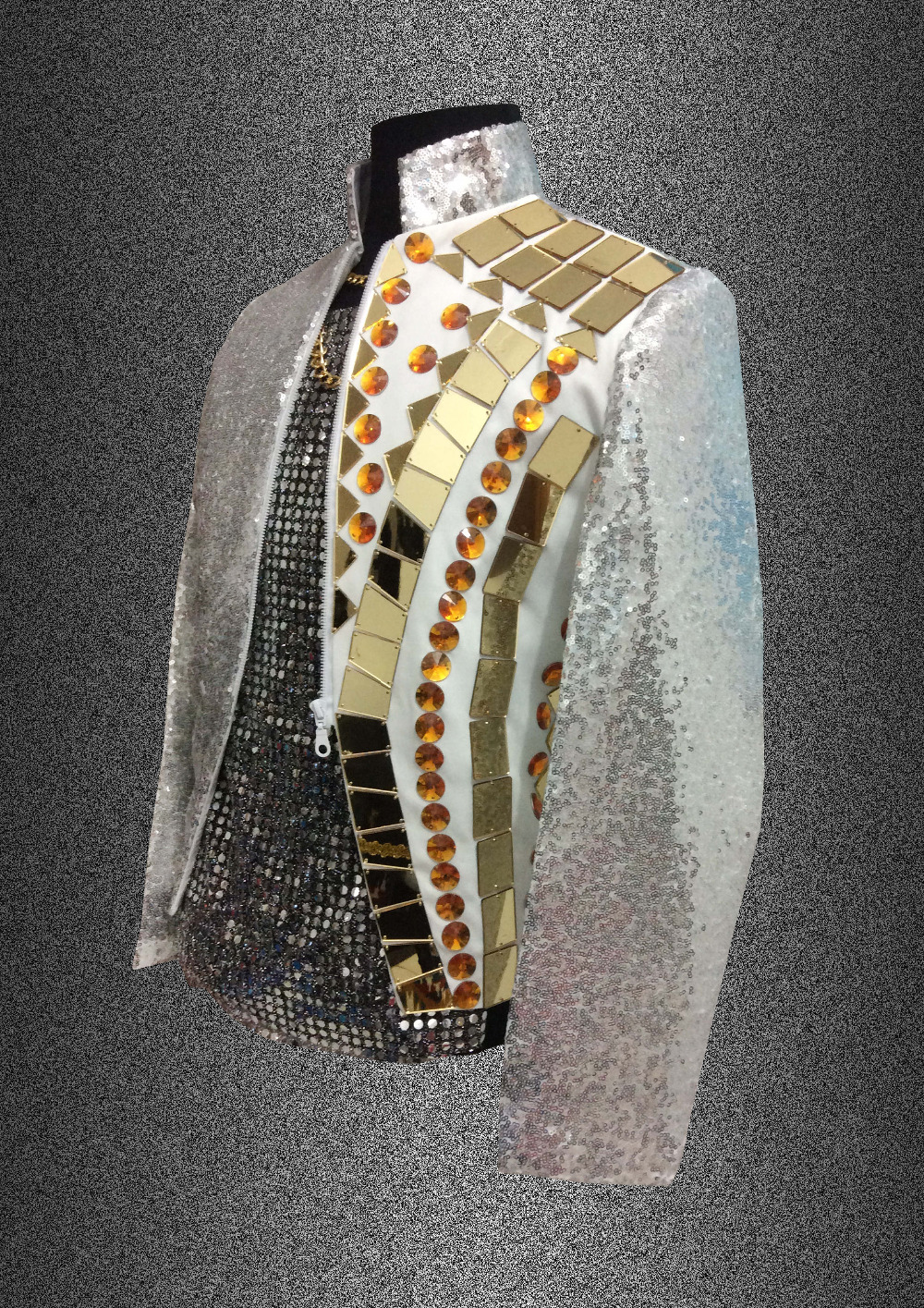 Gold mirror men blazers Shining Sequins jacket outwear male clothes singer dancer performance dress fashion nightclub Bar Outfit