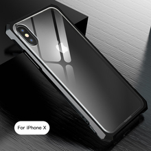 GerTong Transparent Clear Tempered Glass Phone Bag Case For iPhone 7Plus 8 XR X XS Max Coque For iPhone 6 6S 7 Back Cover Bumper