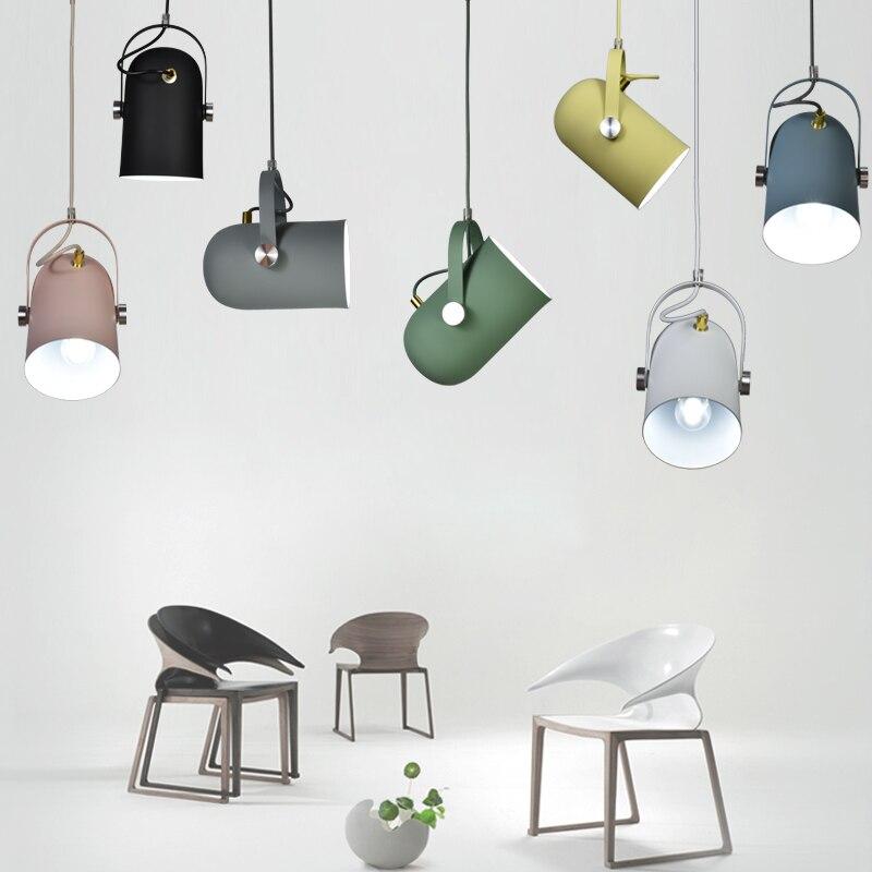 Petit pendentif réglable de l'angle E27 du minimalisme nordique, lampe d'éclairage de décor à la maison et lumière de tache de vitrine de barre