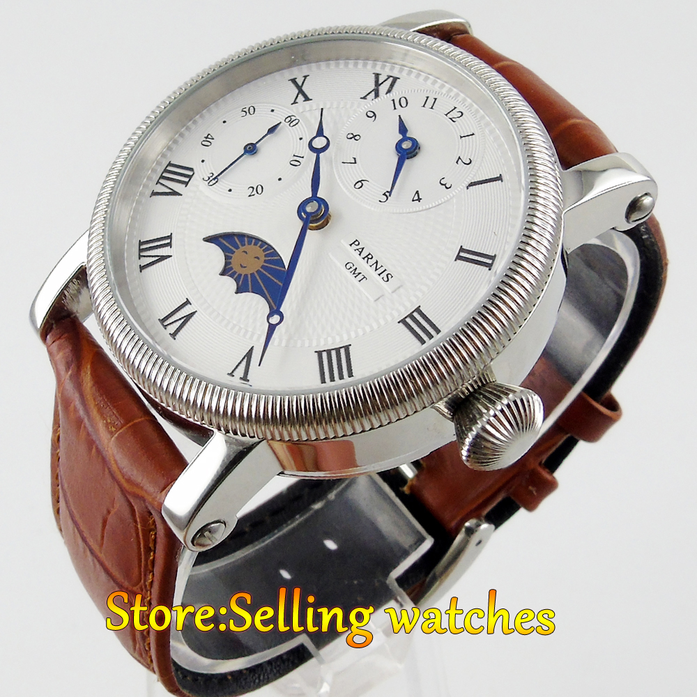 42mm Parnis White Dial Moon Phase GMT Hand Winding Mens Wrist Watch цена