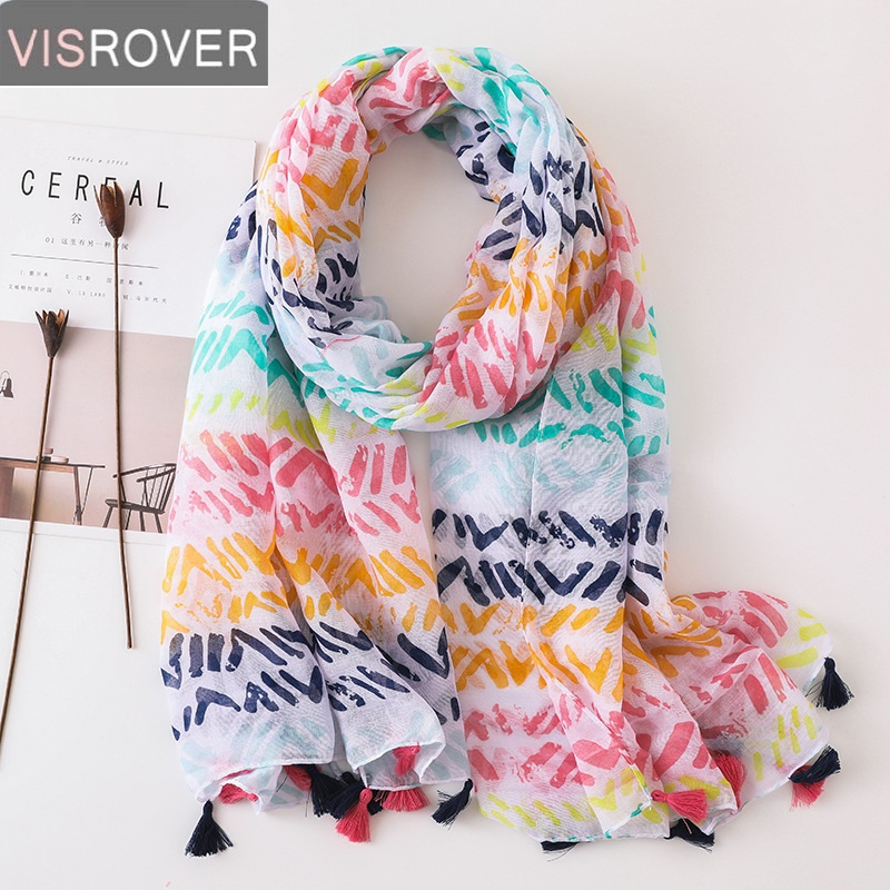 VISROVER Hijab   Scarf   2019 Colorful Bohemian Print   Scarves   Boho Shawl   Wrap   Poncho Beach Dress Top Summer   Scarf   for Women Ladies