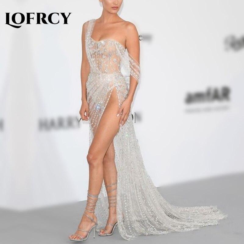 2019 luxe argent Sexy une épaule sans bretelles soirée Pageant robe longue dos nu paillettes élégant maille robes de soirée sans manches