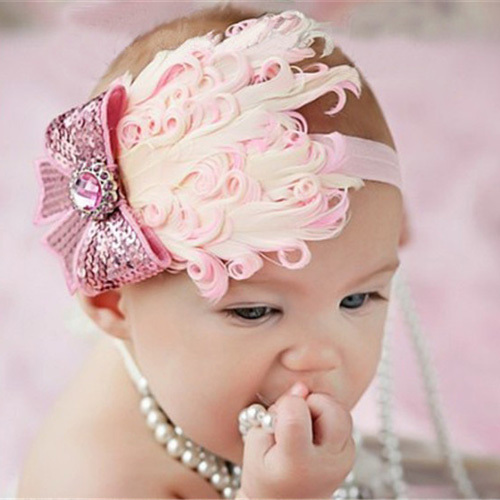 Pink Bow Vintage Baby feather Headband Baby Hairband Baby Girl Headbands  Baby Hair Accessories 5PCS LOT Free Shipping a4226d0a798