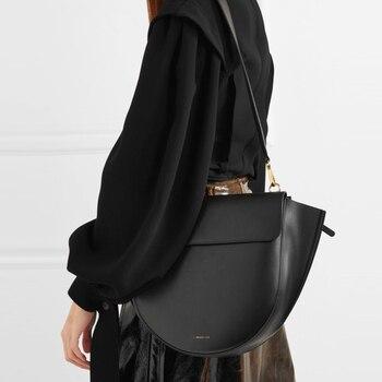 Повседневные сумки седло для женщин, полукруглые нестандартные сумки мессенджеры из искусственной кожи, дамские брендовые вместительные с