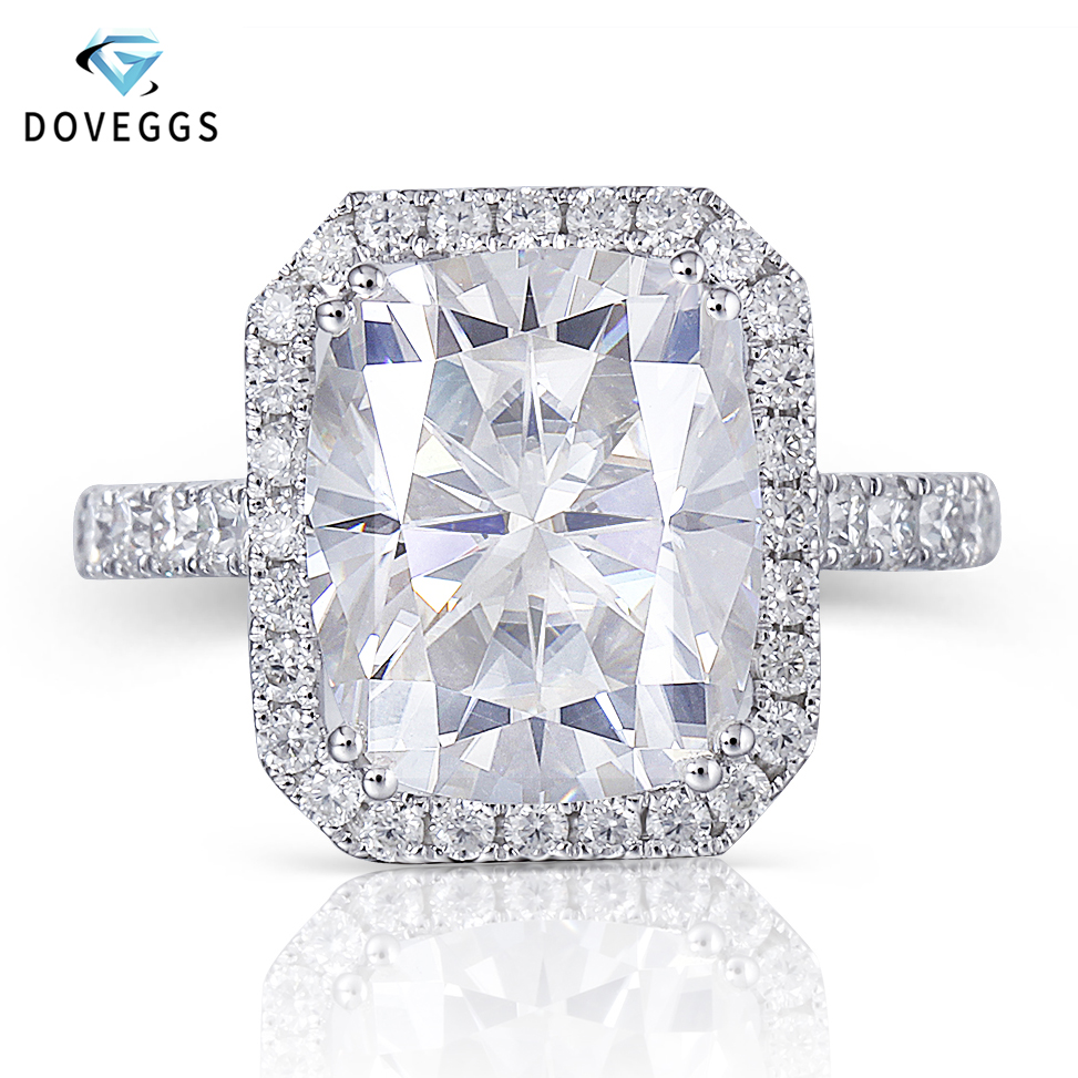 DovEggs 14K White Gold Halo Center 5ct 9 11mm GH Color Cushion Cut Moissanite Engagement Ring