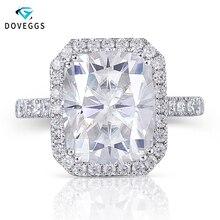 DovEggs 14K الذهب الأبيض هالو مركز 5ct 9*11 مللي متر GH اللون أحجار بمقطع مشابه لشكل الوسائد مويسانيتي خاتم الخطوبة للنساء هدية الزفاف خاتم على شكل هالة