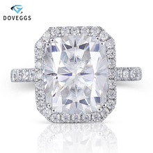 DovEggs 14K זהב הלבן Halo מרכז 5ct 9*11mm GH צבע כרית לחתוך Moissanite אירוסין טבעת עבור נשים חתונה מתנה Halo טבעת