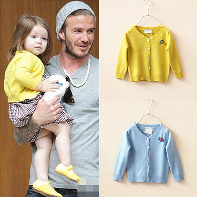 Spring Autumn Fashion Child Shell Buckle Corsage Knitted Sweater