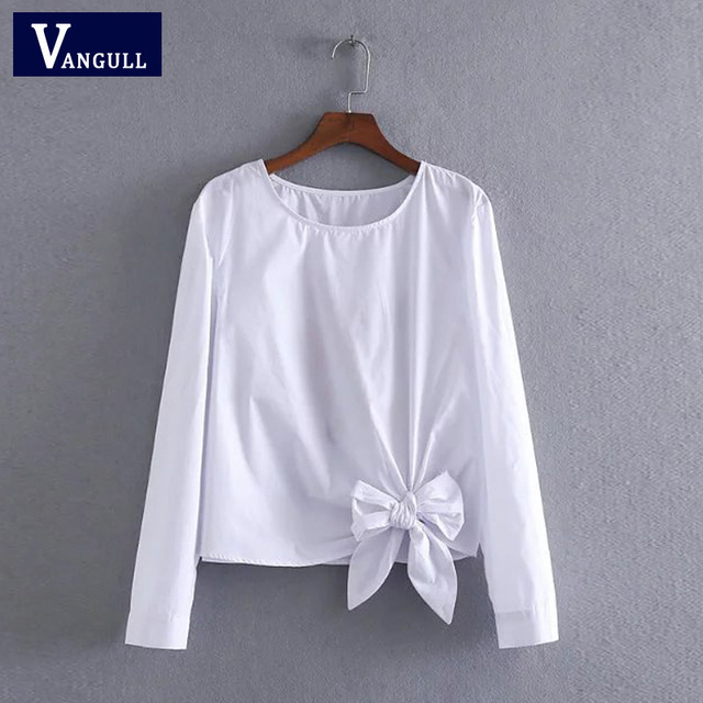 Vangull Women cotton embroidery white blouse O- neck bow back flowers embroidered shirt 2018 Summer Casual Shirts female tops