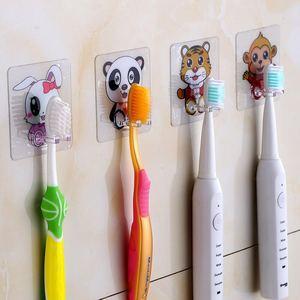Image 4 - 4 adet diş fırçası tutucu şeffaf seyahat standı tuvalet tıraş organizatör çocuk diş fırçası depolama raf banyo aksesuarları Panda