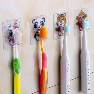 Image 4 - 4pcs Toothbrush Holder Transparent Travel Stand Toilet Shaver Organizer Kids Tooth Brush Storage Rack Bathroom Accessories Panda