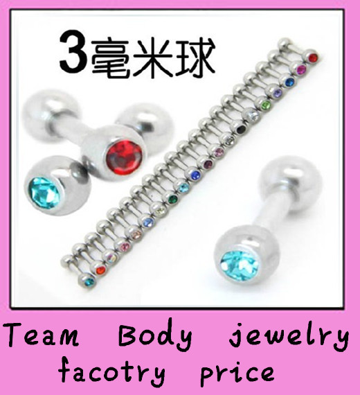CZ gem straight ear stud jewelry earring piercing jewelry 200pcs/lot free shipping tragus barbell ear ring