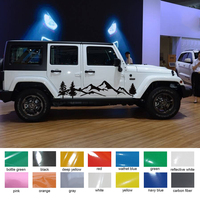 2 pieces jungle mountain adventure off road side door graphic vinyl car sticker for Jeep wrangler rubicon or sahara 4 doors