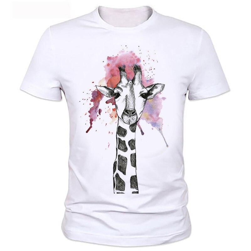 6dab122d5fd03 Summer Casual hommes Tops Arrivée Blanc Girafe Imprimer Manches Courtes Col  Rond Déchiré T-Shirt Peut être personnalisé 116 #